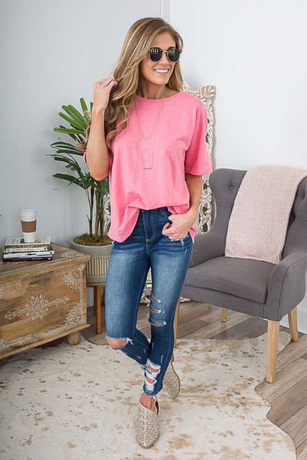 Short Sleeve Lace Up Back Top - Coral Pink