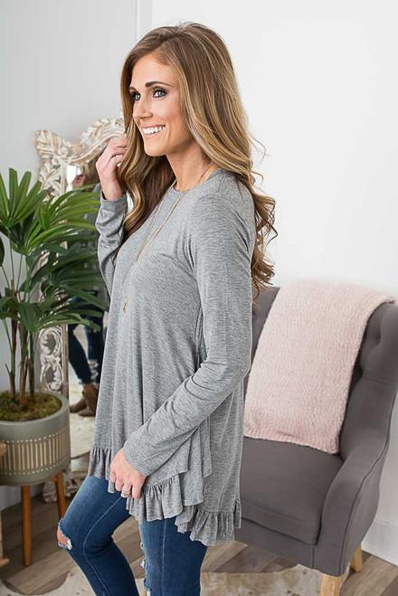 Long Sleeve Ruffle Hem Tunic - Heather Grey