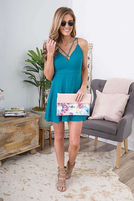 Cross Front Fit & Flare Dress - Teal