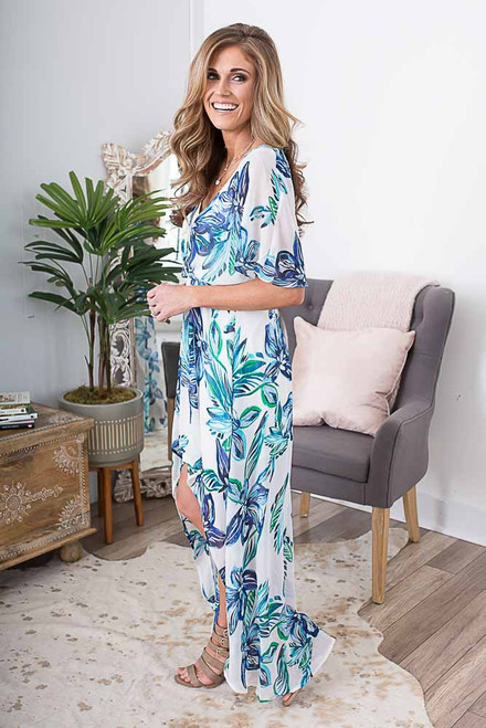 Floral Watercolor High Low Dress - Ivory Multi - FINAL SALE