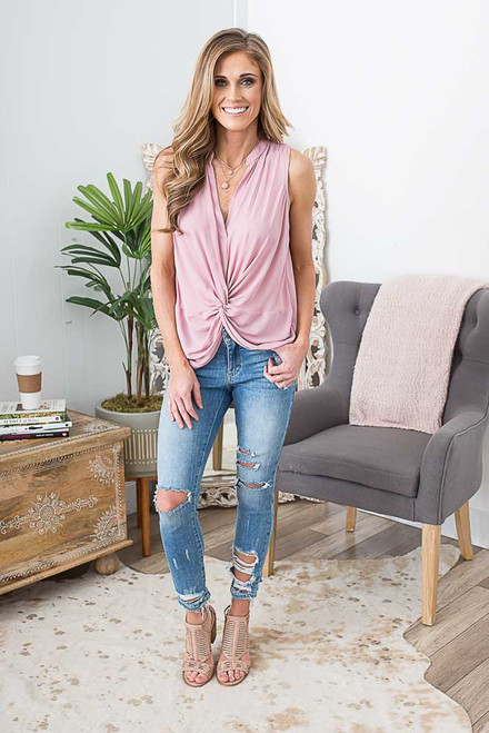 Sleeveless Knotted Top - Dusty Rose