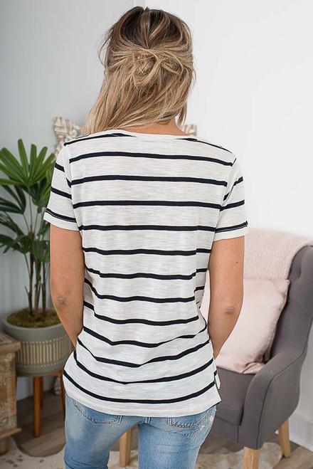 V-Neck Pocket Striped Burnout Tee - Ivory/Black