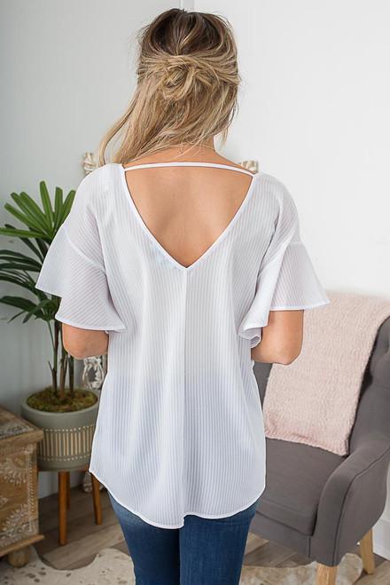 V-Neck Striped Ruffle Sleeve Top - White