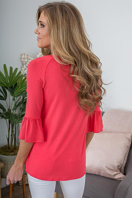 Ruffle Detail Peplum Sleeve Top - Coral