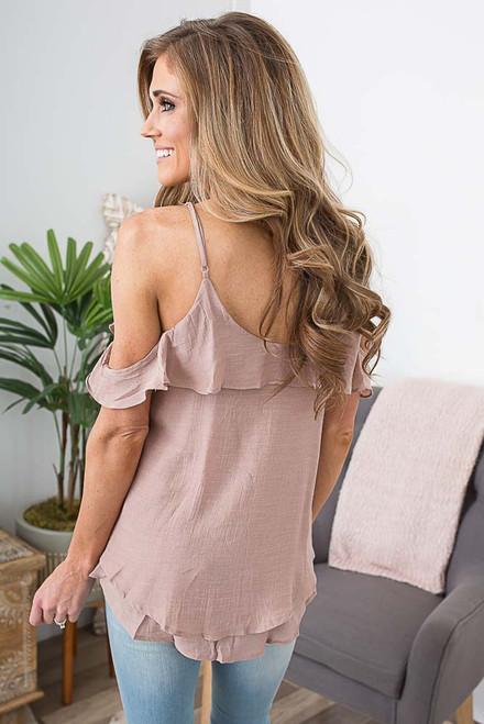 Cold Shoulder Ruffle Top - Pink Sands