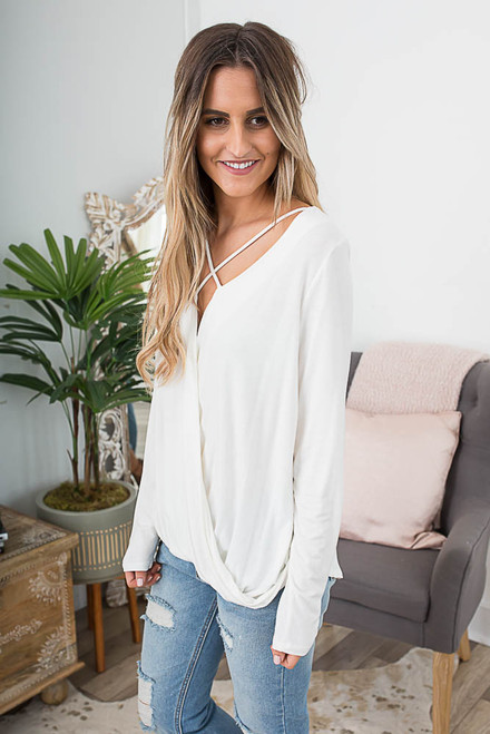 Long Sleeve Cross Front Wrap Top - Ivory