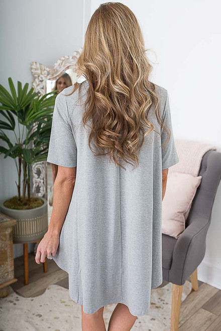 Short Sleeve Knit Swing Dress - Heather Grey