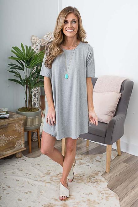 3/4 Sleeve Knit Swing Dress - Heather Grey