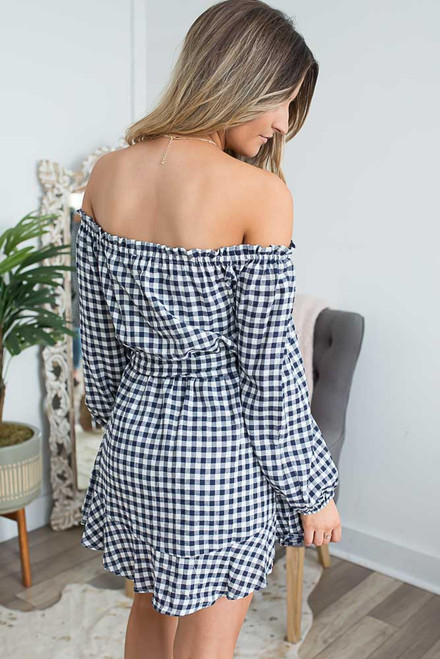 Off the Shoulder Gingham Dress - Navy/White