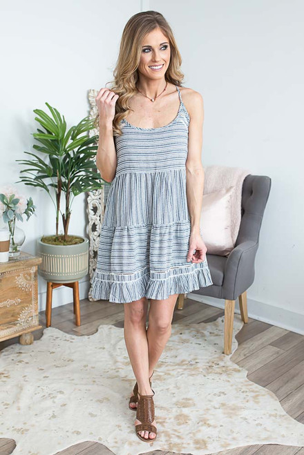 Tiered Ruffle Striped Sundress - Navy/Off White - FINAL SALE