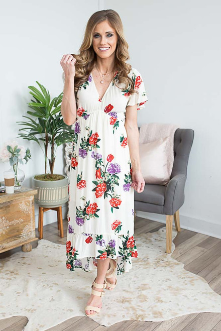 Short Sleeve Floral High Low Dress - Ivory Multi