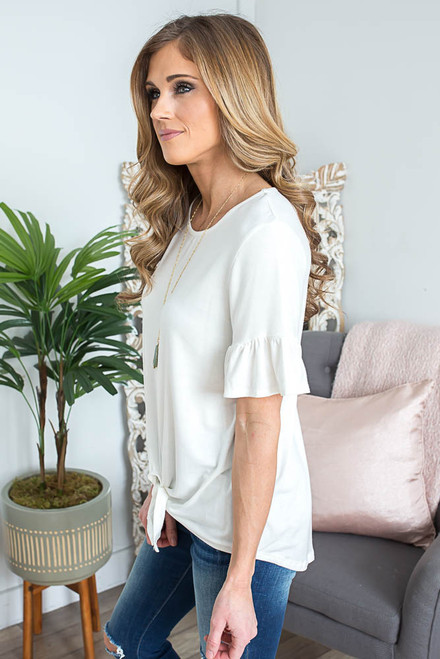 Ruffle Sleeve Tie Knot Top - Off White - FINAL SALE