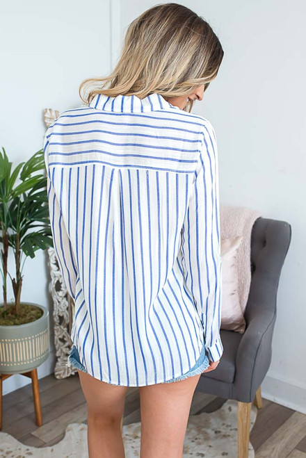 Button Down Striped  Pocket Top - Ivory/Blue
