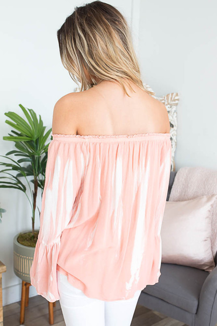 Off the Shoulder Tie Dye Top - Peach Pink/White