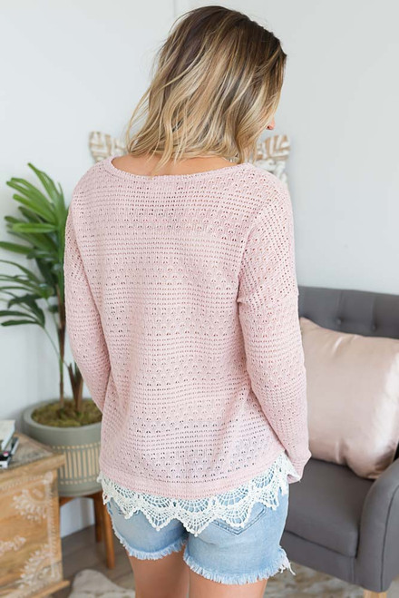 Scalloped Trim Crochet Sweater - Dusty Pink - FINAL SALE