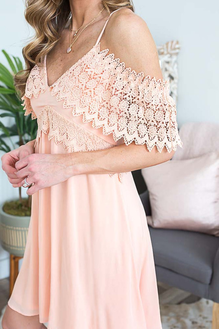 Cold Shoulder Crochet Detail Dress - Peach