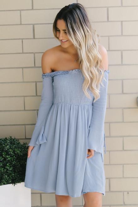 Off the Shoulder Smocked Dress - Chambray Blue  - FINAL SALE