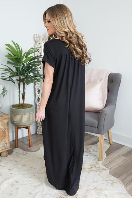V-Neck Cuffed Sleeve Maxi Dress - Black