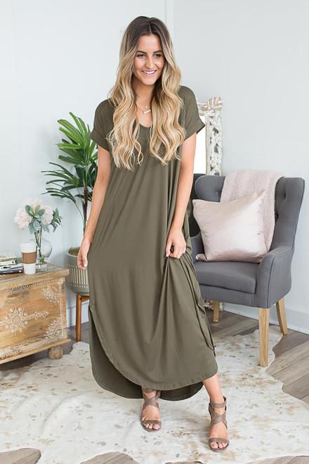 V-Neck Cuffed Sleeve Maxi Dress - Olive