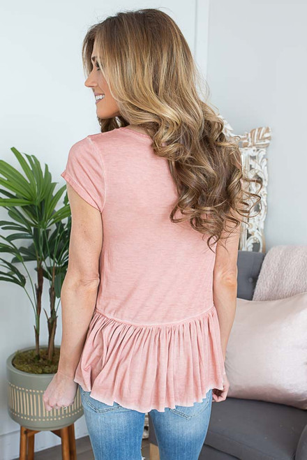 Vintage Wash Peplum Top - Dusty Coral - FINAL SALE