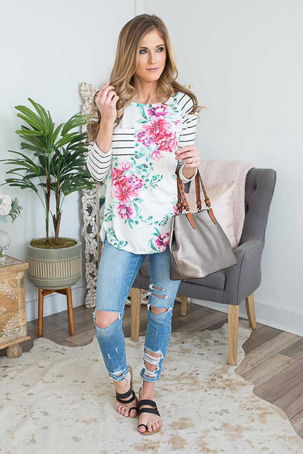 Striped Contrast Floral Baseball Top - Multi
