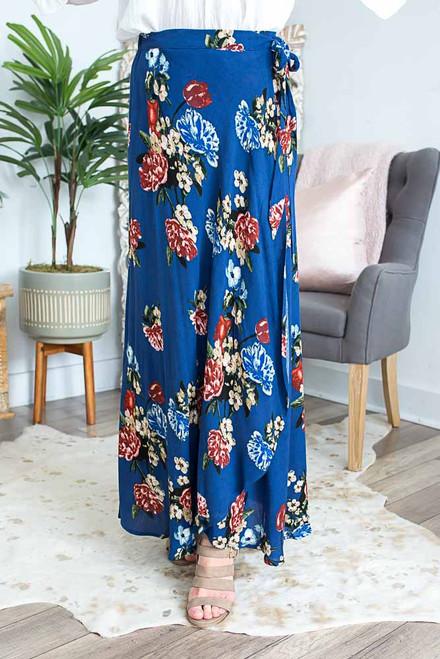 Floral Print Wrap Maxi Skirt - Navy