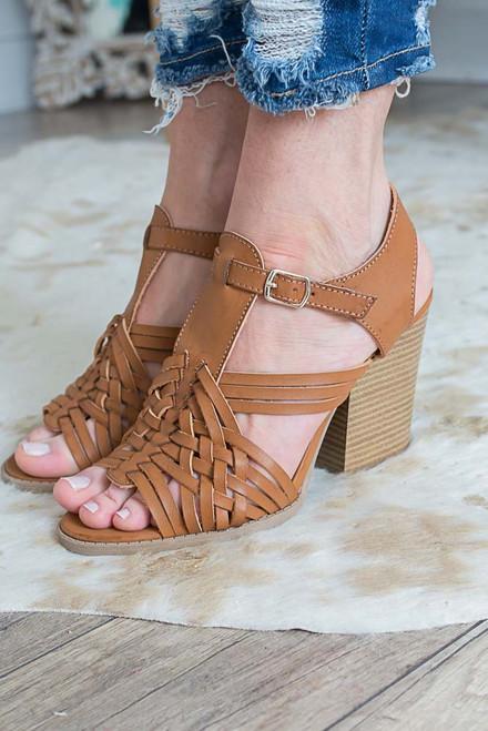 Woven Block Heeled Sandals - Cognac