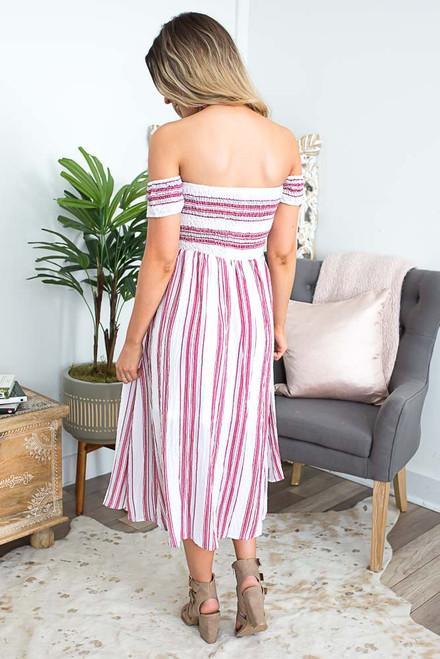 Off the Shoulder Smocked Midi Dress - Berry Multi