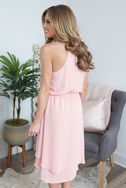 Everly Tiered High Low Dress - Peach  - FINAL SALE