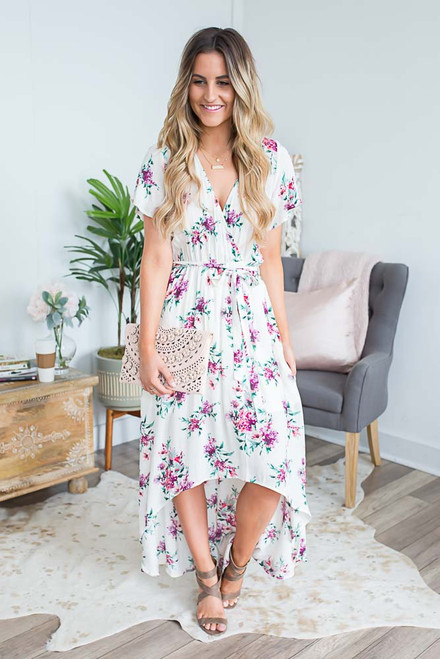 Floral Tie Waist High Low Dress - Ivory Multi