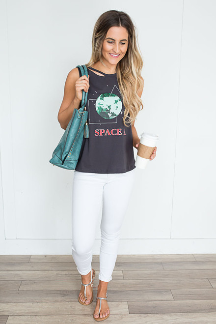Space Graphic Cutout Tank - Charcoal