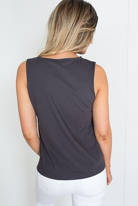 Space Graphic Cutout Tank - Charcoal - FINAL SALE