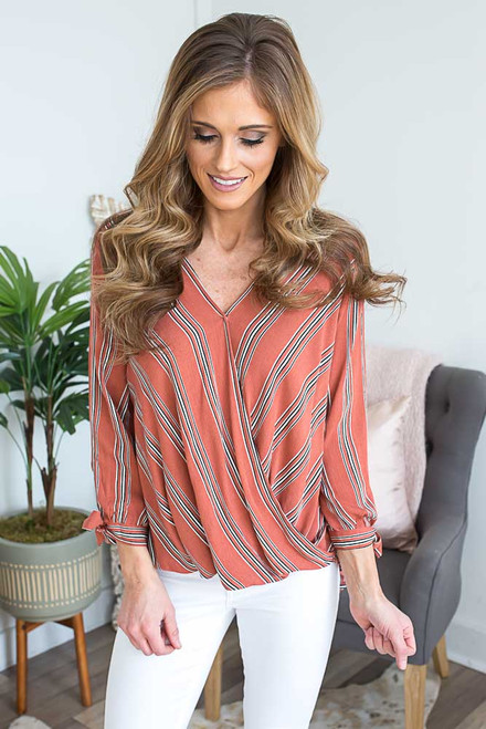 Striped Surplice Wrap Top - Dusted Clay