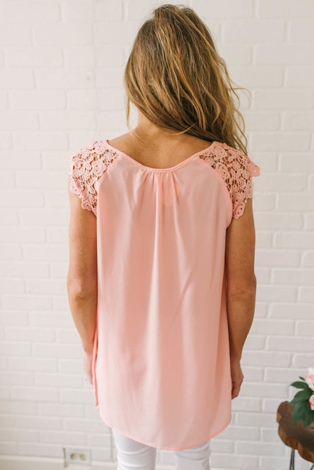 Crochet Cap Sleeve Tunic - Tropical Peach