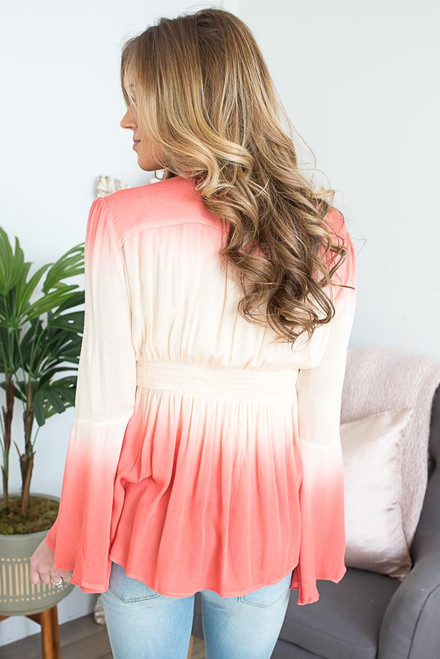 Ombre Bell Sleeve Boho Top - Coral/Beige - FINAL SALE