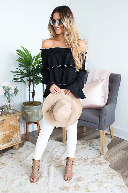 Off the Shoulder Tiered Ruffle Top - Black