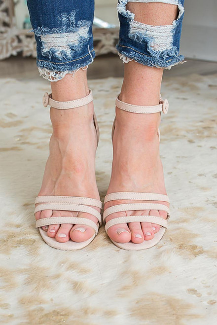 Wine Country Strappy Heeled Sandals - Nude - FINAL SALE
