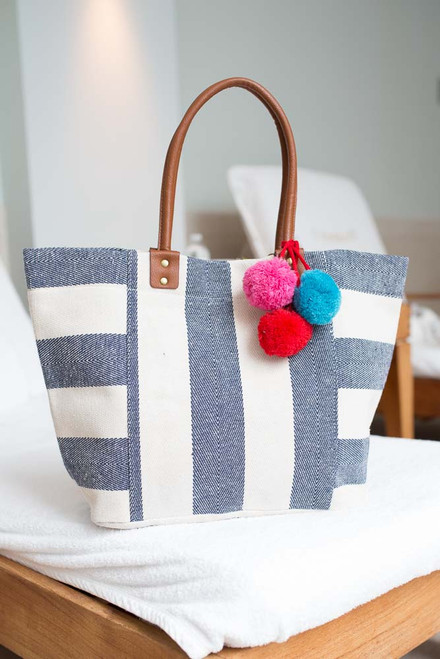 Striped Pom Pom Tote - Navy/Ivory