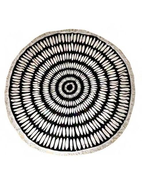 Printed Circle Beach Towel - Black/White