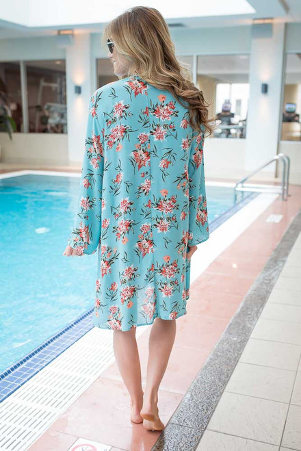Floral Kimono Cover Up - Island Blue