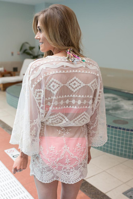 Crochet Lace Swim Cover Up - Natural