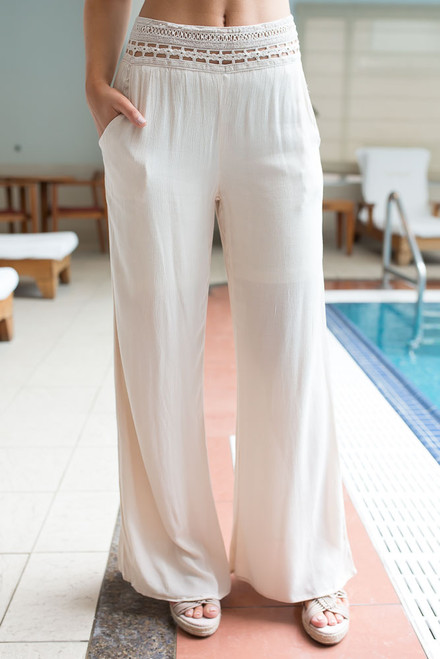 Crochet Trim Palazzo Pants - Natural - FINAL SALE