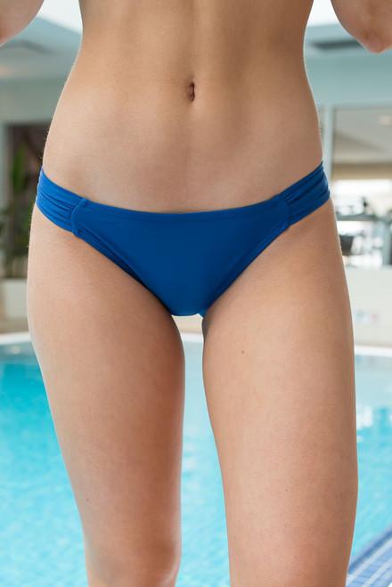 Solid Gathered Bikini Bottom -Navy - FINAL SALE