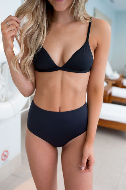 High Waisted Solid Bikini Bottoms - Black