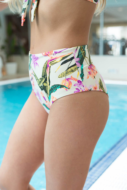 Tropical Floral High Waisted Bikini Bottoms - Ivory Multi
