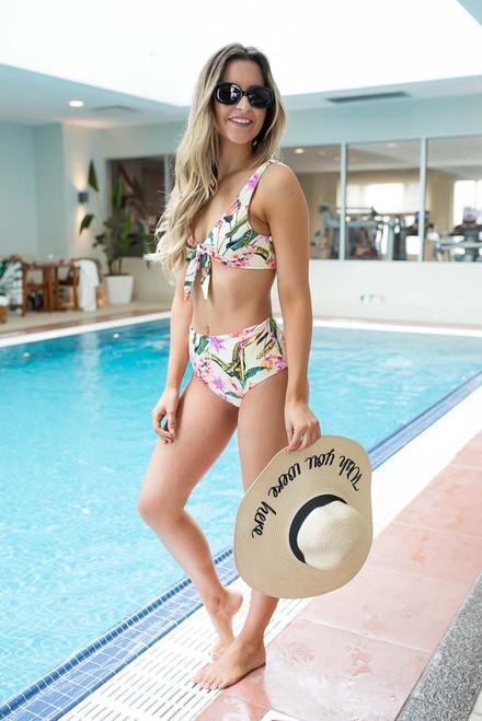 Tropical Floral High Waisted Bikini Bottoms - Ivory Multi  - FINAL SALE
