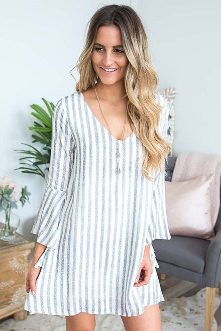 Striped Bell Sleeve Shift Dress - Grey/Off White