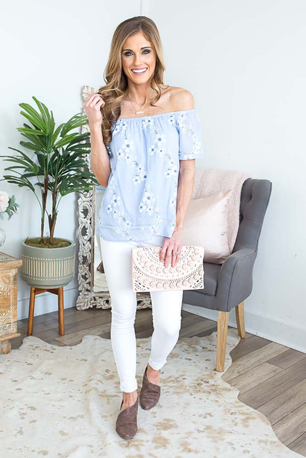 Off the Shoulder Embroidered Top - Arctic Blue