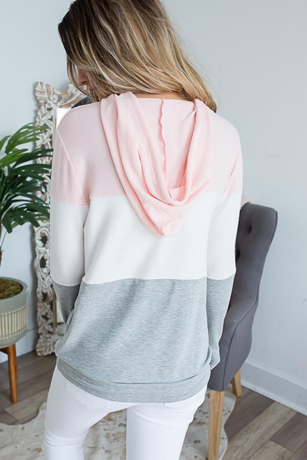 Colorblock Drawstring Hoodie - Pink/Ivory/Grey