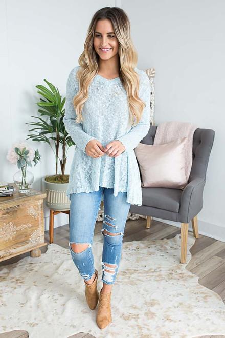 Lightweight High Low Sweater - Light Blue -FINAL SALE
